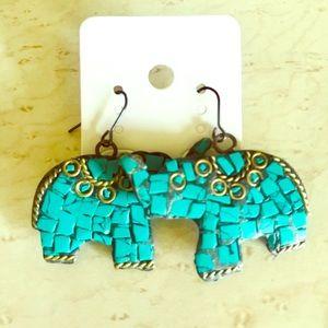Jewelry - 🐘 Turquoise Elephant Earrings